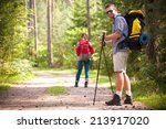 happy couple going on a hike... | Shutterstock . vector #213917020