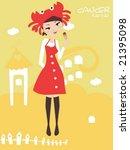 horoscope cancer cute funny girl | Shutterstock .eps vector #21395098