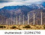 wind turbines outside palm... | Shutterstock . vector #213961750