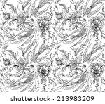 decorative birds and flowers | Shutterstock .eps vector #213983209