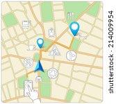 using phone for street map... | Shutterstock .eps vector #214009954