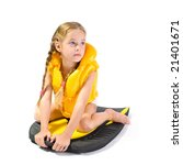 young girl with yellow life... | Shutterstock . vector #21401671