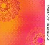 ethnic   colorful henna mandala ... | Shutterstock .eps vector #214018528