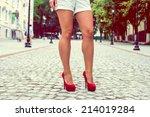 woman legs in red high heel...   Shutterstock . vector #214019284