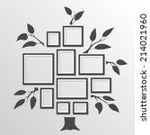 tree with frames on the wall.... | Shutterstock .eps vector #214021960