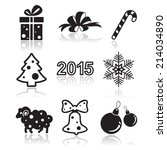 set of christmas and new year... | Shutterstock .eps vector #214034890