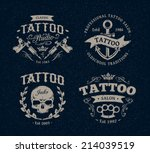 vector tattoo studio logo... | Shutterstock .eps vector #214039519