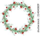 pomegranate frame  | Shutterstock .eps vector #214040809