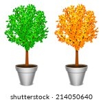 tree with green and yellow... | Shutterstock . vector #214050640