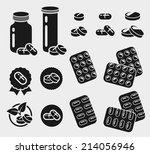 medication  buttons  pills set. ... | Shutterstock .eps vector #214056946