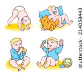 baby playing with toys  eats... | Shutterstock .eps vector #214058443