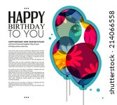 birthday card with color... | Shutterstock .eps vector #214066558