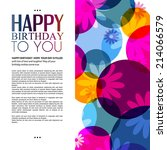 birthday card with flowers on... | Shutterstock .eps vector #214066579