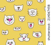 cute seamless pattern with cat... | Shutterstock .eps vector #214067458