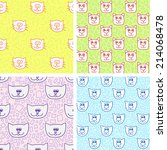four cute seamless pattern with ... | Shutterstock .eps vector #214068478