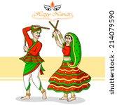 couple playing dandiya in... | Shutterstock .eps vector #214079590
