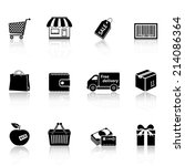 shopping icons with reflection | Shutterstock . vector #214086364