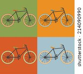 oldschool style bycicle vector... | Shutterstock .eps vector #214090990