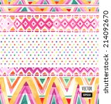seamless colorful aztec pattern | Shutterstock .eps vector #214092670