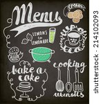blackboard doodles themed... | Shutterstock .eps vector #214102093