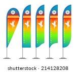 illustration set of beach flags.... | Shutterstock .eps vector #214128208