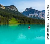 Canoeing On Emerald Lake In Th...