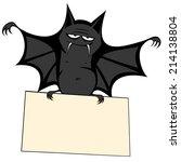 funny freaky bat   a big black... | Shutterstock .eps vector #214138804
