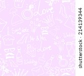 wedding sketch icons seamless... | Shutterstock .eps vector #214139344