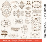 vector set  vintage frames and... | Shutterstock .eps vector #214140688