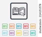 instruction sign icon. manual... | Shutterstock .eps vector #214151578