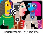 group of strange people  ... | Shutterstock .eps vector #214155193