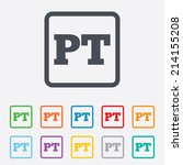 Portuguese language sign icon. PT Portugal translation symbol. Round squares buttons with frame. Vector