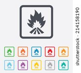 fire flame sign icon. heat... | Shutterstock .eps vector #214158190