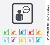 byod sign icon. bring your own... | Shutterstock .eps vector #214161628