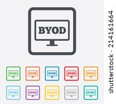 byod sign icon. bring your own... | Shutterstock .eps vector #214161664