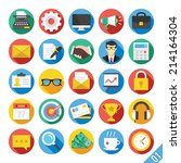 round vector flat icons set... | Shutterstock .eps vector #214164304