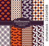 set of halloween backgrounds.... | Shutterstock .eps vector #214164388