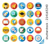 round vector flat icons set... | Shutterstock .eps vector #214165240