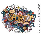 sport hand lettering and... | Shutterstock .eps vector #214166500