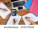 hands of student group studying ... | Shutterstock . vector #214175200