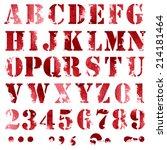 grunge full alphabet and...   Shutterstock .eps vector #214181464