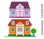 two vector cottages | Shutterstock .eps vector #214182139
