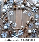 silver snow flakes with pine... | Shutterstock . vector #214183024