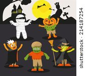 halloween ghost party cartoon... | Shutterstock .eps vector #214187254