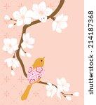bird on blossom cherry branch.   Shutterstock .eps vector #214187368