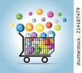 shopping cart and electronic... | Shutterstock .eps vector #214187479