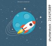 rocket ship in a flat style...   Shutterstock .eps vector #214191889