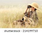 little boy tourist looking into ... | Shutterstock . vector #214199710