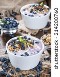 bowl with homemade blueberry... | Shutterstock . vector #214200760