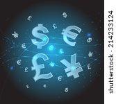 Stock vector dollars sign japanese yen currency sign british pound currency sign euro currency symbol 214233124
